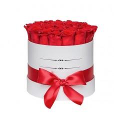 """Голландские Розы в шляпной коробке """"Алая заря"""""""