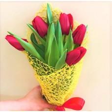 Букет из 5 красных Тюльпанов