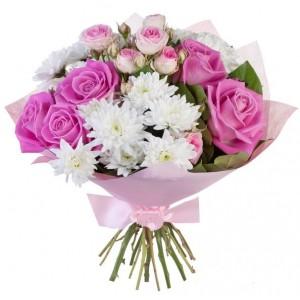 """Букет из Роз и Хризантем """"Розовый фламинго"""""""