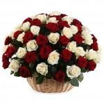 """101 Роза в корзине """"Жемчуг и рубин"""""""