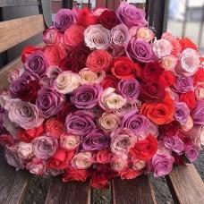 """101 Роза микс """"Солнечный луч"""" (Эквадор)"""