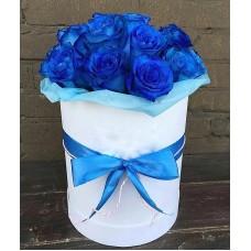 """Розы в шляпной коробке """"Морская дымка"""""""