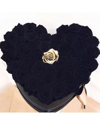 """Черные Розы в коробке """"Богема"""""""