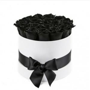 """Черные Розы в коробке """"Контраст"""""""