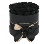 25 Черных Роз в шляпной коробке