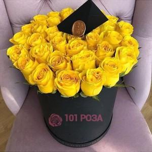 """Розы в шляпной коробке """"Луч солнца"""""""