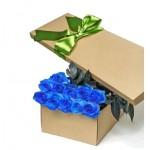 """Синие Розы в шляпной коробке """"Льдинки"""""""