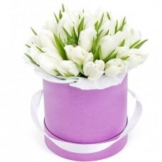 """Тюльпаны в шляпной коробке """"Белое солнце"""""""